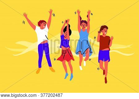 Celebration, Friendship, Happiness Concept. Group Young Cheerful Happy Children Kids Boys Girls Frie