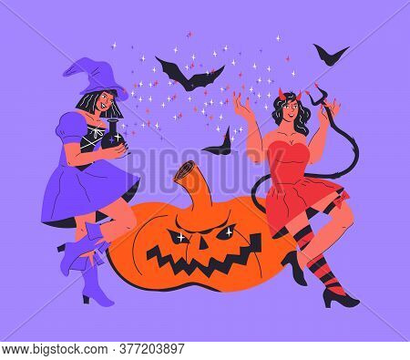 Halloween Card Or Poster With Sexy Devil And Witch Girl Flat Vector Illustration.
