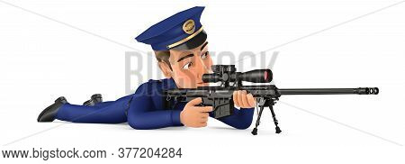 3d Policeman Lying Down With Sniper Rifle, Illustration With Isolated White Background