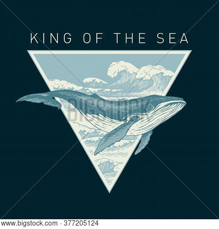 Hand-drawn Illustration Of A Big Whale And A Triangle With Sea Waves On A Black Background In Retro