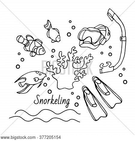Snorkeling Set Mask, Flippers, Tube, Fish And Coral. Hand Drawn Vector Illustration In Black Ink Iso