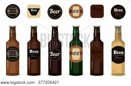Set Of Vector Glass Beer Bottles. Isolated Bottles With Different Types, Grades And Firms Of Beer On