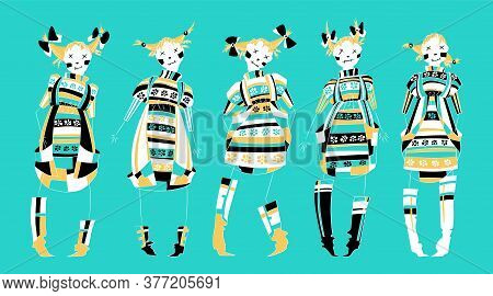 Funny Voodoo Dolls Set In Flat Style. Smile Girls Witch Skeleton With Dress, Character Design. Hand