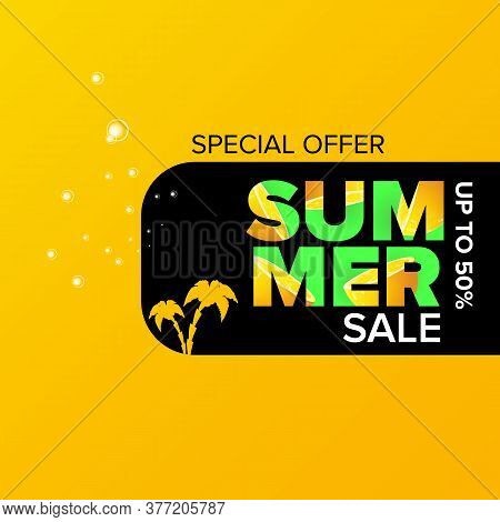 Summer Sale Modern Color Design Template Banner Or Poster. Vector Summer Sale Label With Typographic