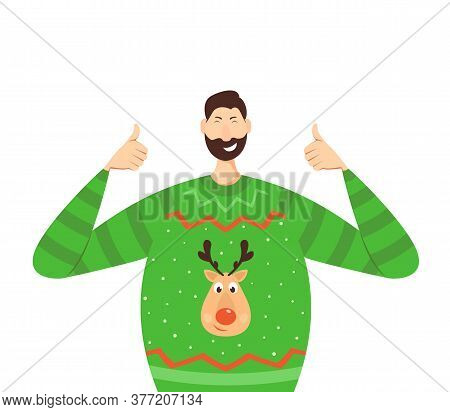 Happy Man Show Thumbs Up In A Green Knitwear Sweater With Cute Deer. Joyful Person Isolated On White