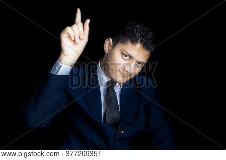 Classy Careless Focused Ceo Entrepreneur Isolated Over Black Background In Blue Classy Suit, Focusin
