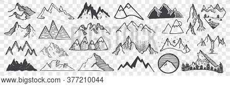 Hand Drawn Mountain Peaks Doodle Set. Collection Of Pencil Chalk Drawing Sketches Different Form Sha