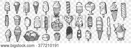 Hand Drawn Ice Cream Doodle Set. Collection Of Pencil Chalk Drawing Sketches Of Different Various Sh