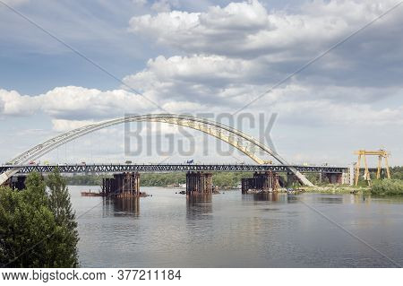 Construction Of A New Arch Bridge Across The Dnipro (dnieper) River, Kyiv, Ukraine. Large Infrastruc