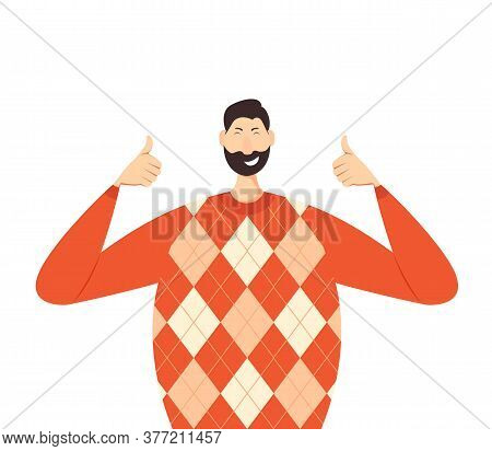 Happy Man Show Thumbs Up In A Red Knitwear Sweater. Joyful Person Isolated On White Background. Illu