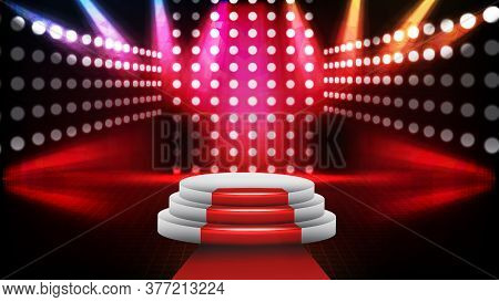 Abstract Futuristic Background Of Red Empty Stage Stairs Covered With Red Carpet And Lighting Spotlg