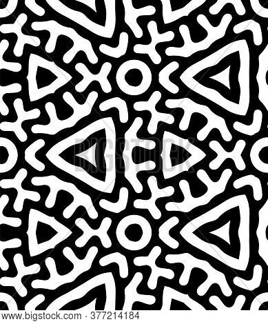 Intricate Geometric Pattern In Classic Black And White Seamless Pattern Vector Background.