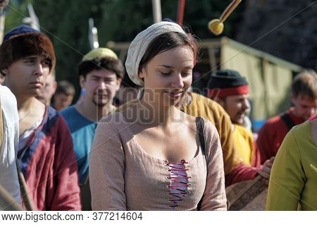 Russia, Vyborg, 30,07,2011 A Woman In Historical Clothing At The Festival Of The Historical Reconstr