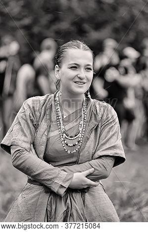 Woman In Historical Clothing At The Festival Of The Historical Reconstruction Of The Middle Ages