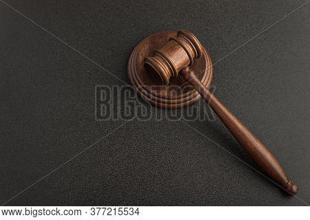 Judges Gavel Or Hammer For Auction On Black Background. Law Justice And Legal Jurisprudence Concept