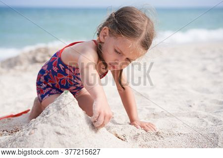 Child Playing Sand Beach Little Girl Play Sad Alone Summer Family Vacation Caucasian Female 3 Years