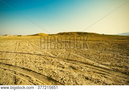 Breathtaking Landscape Of The Rock Formations In The Israel Desert. Dusty Mountains Interrupted By W