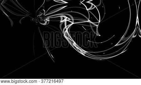 Glowing Futuristic Discharge. White Swirling Blurred Lines And Dots In An Abstract Discharge On A Bl