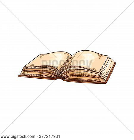 Grunge Open Book With Blank Dirty Pages Isolated Sketch. Vector Old Book In Hard Cover, Empty Page I