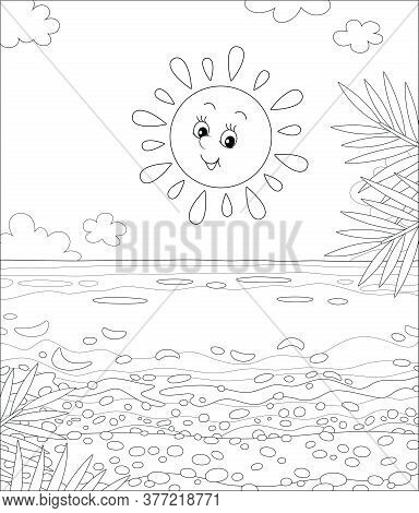 Friendly Smiling Sun Shining A Sandy Beach With Palm Branches On A Beautiful Island In A Tropical Se