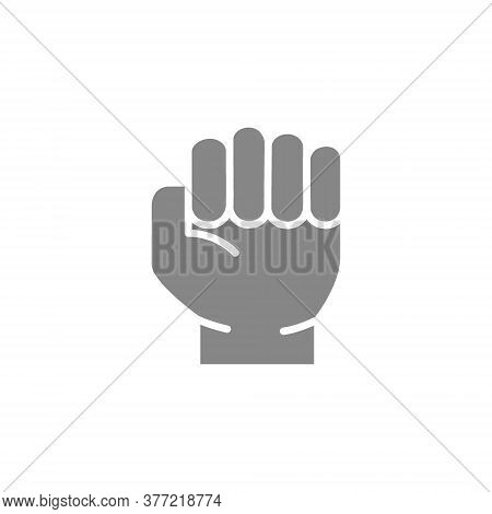 Human Fist Gray Icon. Violence And Physical Strength Gesture Symbol
