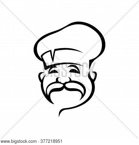 French, Italian Chef Black Outline Vector Illustration. European Cuisine Logo Design Idea. Professio