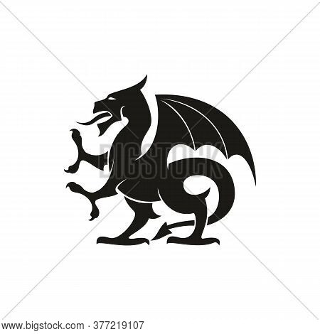 Dragon Or Gryphon Isolated Medieval Heraldry Beast. Vector Mythical Creature With Eagle Legs And Win
