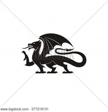 Dragon Gryphon Isolated Heraldic Animal Silhouette . Vector Creature With Eagle Legs And Lion Tail
