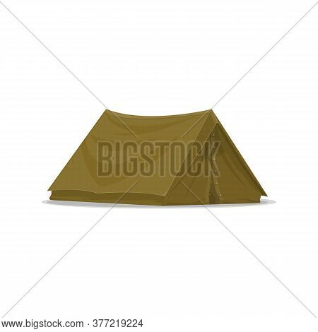 Waterproof Camping Tent Isolated Vector Icon. Portable Dwelling, Hiking Or Hunting Equipment