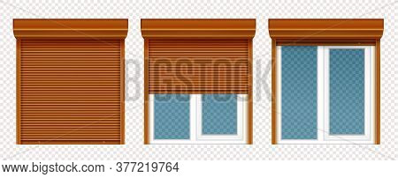 Plastic Window With Wooden Rolling Shutter Isolated On Transparent Background. Vector Realistic Set