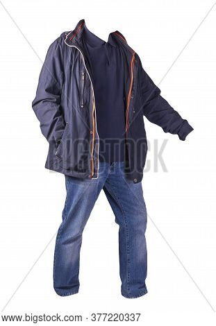 Dark Blue Jacket, Dark Blue Shirt And Blue Jeans Isolated On White Background. Casual Fashion Clothe