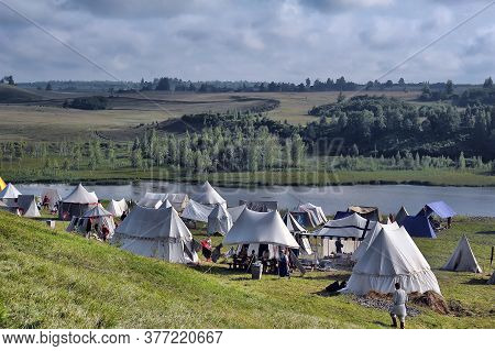 Russia, Izbosk 03,08,2013  Few Knight Tents Placed Near Fortness Wall During Historical Festival The