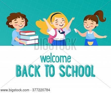 Welcome Back To School Concept. Little Kids Schoolers In Uniform Rejoice With Books, Rucksack And Ch