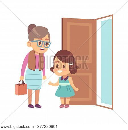 Little Girl Respect Elderly. Polite Obedient Child With Good Manners Opening Door To Grandmother, Ch