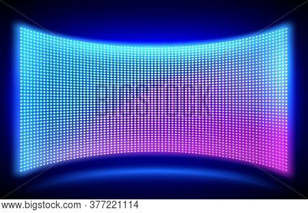 Led Concave Wall Video Screen With Glowing Blue And Purple Dot Lights On Black Background. Vector Il