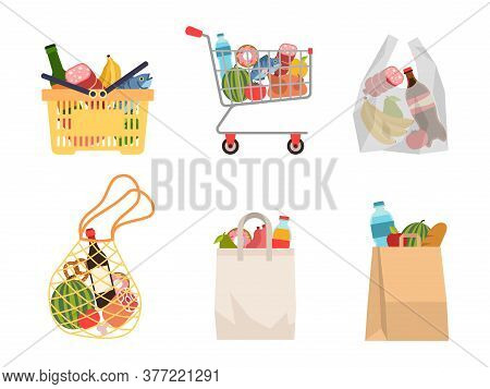 Shopping Bags With Foods. Grocery Purchases, Paper Packages, Plastic Or Eco Bag, Full Trolley And Ba