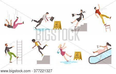 Falling Down People. Tripping On Stairs And Drop From Altitude, Slipping Wet Floor, Person Injury, D