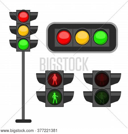 Traffic Light. Led Lights Red, Yellow And Green Colors Signals Street Regulation, Crosswalk And Road