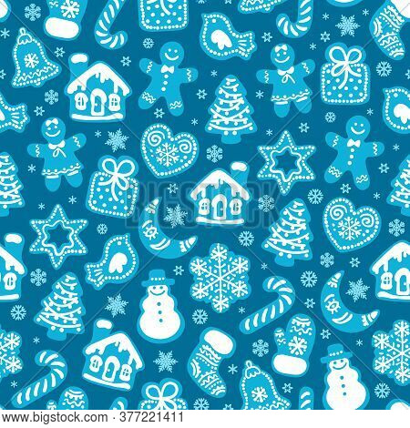 Christmas And New Year Seamless Pattern Of Traditional Gingerbread Cookies And Snowflakes On Dark Bl