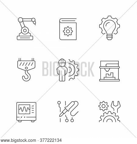 Set Line Icons Of Engineering Isolated On White. Robotic Industry, Guide Book, Idea, Crane Hook, Eng