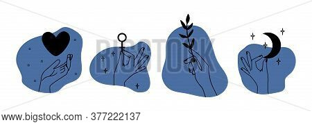 Hands Holding Different Things. Abstract Line Elements, Contemporary Decorative Art. Female Arm With