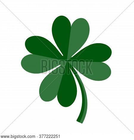 Lucky Green Four Leaf Clover For St. Patricks Day. Vector Illustration Isolated On White Background