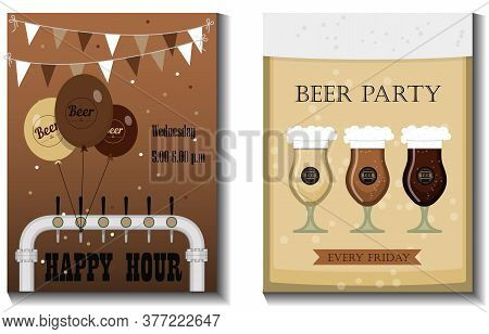 A Set Of Vector Flyers For A Beer Party, Festival Or Advertising. Flat Illustration With Beer Mugs,