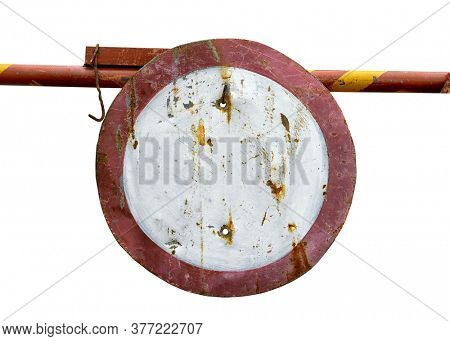 road warning sign traffic is prohibited, old or obsolete object closeup isolated on white