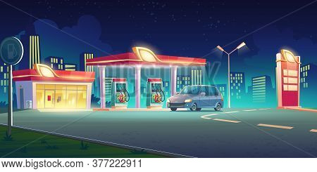 Gas Station With Oil Pump, Market And Prices Display At Night. Vector Cartoon Cityscape With Car On