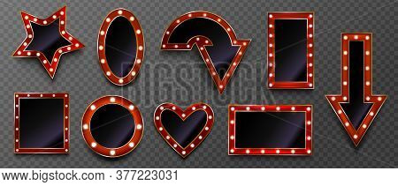 Frames With Light Bulbs For Retro Sign On Circus Marquee Or Casino Isolated On Transparent Backgroun