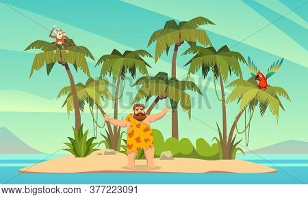 Robinson Crusoe. Man On Desert Island In Ocean And Palm Coconut Trees With Parrot And Monkey, Tropic