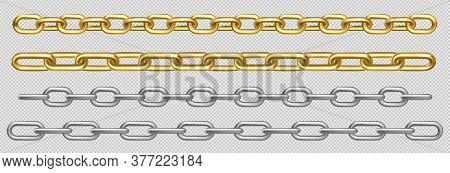 Metal Chain Of Silver, Chrome, Steel Or Golden Links. Border With Connected Stainless Rings. Straigh