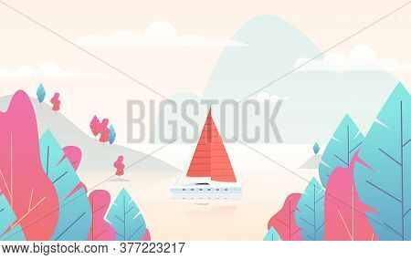 Sailboat Panorama With Pond. Mountain Nature Scene With Boat And Lake, Paradise Background With Pink