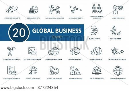 Global Business Icon Set. Collection Contain Global Management, Strategic Decisions, Leadership Appr